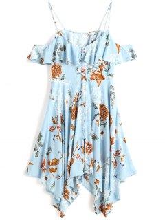 Vestido A Media Pierna Con Hombros Descubiertos Y Florales - Azul Claro Xl