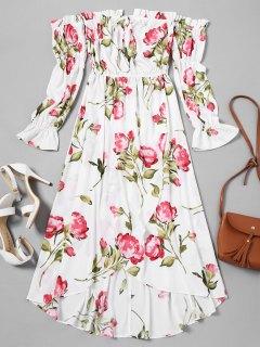 Vestido Asimétrico Floral Con Hombros Descubiertos - Blanco L