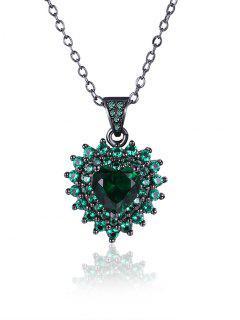 Faux Cristal Strass Collier Pendentif Coeur - Vert