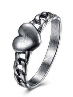 Vintage Heart Chain Ring - Silver 8