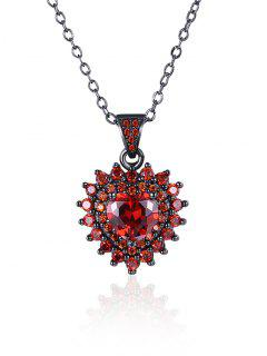 Faux Crystal Rhinestone Heart Pendant Necklace - Red