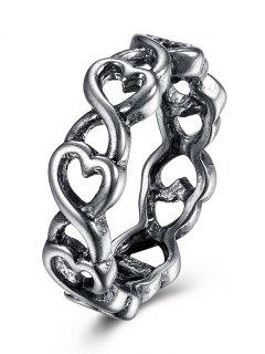 Alloy Unique Heart Finger Ring - Silver 7