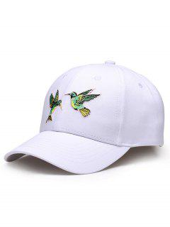 Flying Birds Embroidery Adjustable Baseball Hat - White