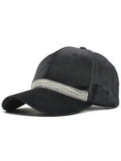 Beaded Chain Decoration Adjustable Baseball Cap - Black