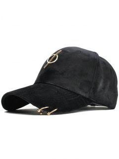 Metal Bar Decoration Adjustable Baseball Cap - Black