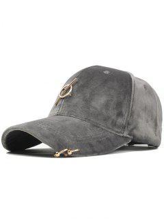 Metal Bar Decoration Adjustable Baseball Cap - Gray