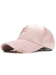 Metal Bar Decoration Adjustable Baseball Cap - Pink