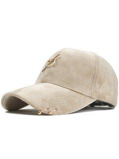 Metal Bar Decoration Adjustable Baseball Cap - Beige