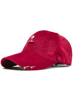 Metal Rings And Bar Decoration Baseball Hat - Red