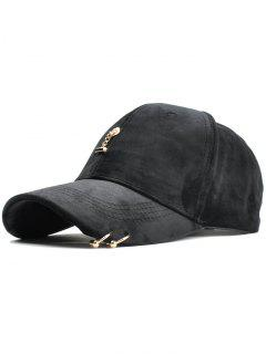 Metal Rings And Bar Decoration Baseball Hat - Black