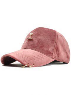 Metal Rings And Bar Decoration Baseball Hat - Pink