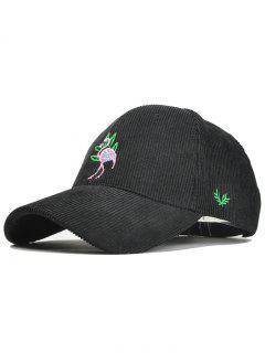 Phoenix Bird Embroidery Adjustable Corduroy Baseball Cap - Black
