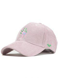 Phoenix Bird Embroidery Adjustable Corduroy Baseball Cap - Pink