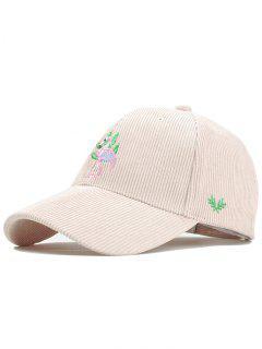 Phoenix Bird Embroidery Adjustable Corduroy Baseball Cap - Beige