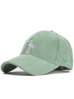 Phoenix Bird Embroidery Adjustable Corduroy Baseball Cap - Mint