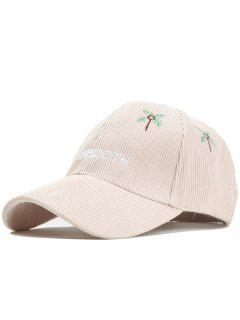 MAINBOOTH Embroidery Adjustable Corduroy Baseball Cap - Beige