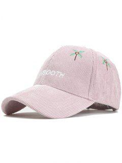 MAINBOOTH Embroidery Adjustable Corduroy Baseball Cap - Pink