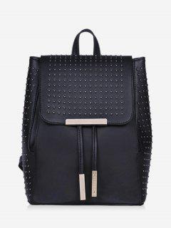 Rivets Metal PU Leather Backpack - Black