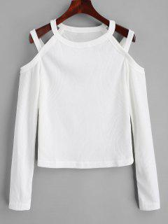 Cold Shoulder Ribbed Knitted Top - White S