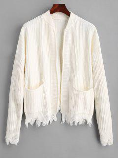 Ripped Hem Open Cardigan With Pockets - White