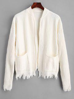 Ripped Hem Open Cardigan Mit Taschen - Weiß