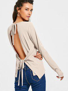 Tied Open Back Thumbhole Knitted Top - Apricot M