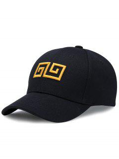 Geometric Pattern Embroidery Adjustable Baseball Cap - Black