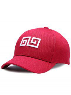 Geometric Pattern Embroidery Adjustable Baseball Cap - Wine Red