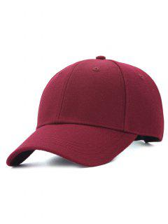Line Embroidery Adjustable Baseball Cap - Wine Red