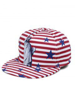 Statue Of Liberty Pattern Decorated Adjustable Graphic Hat - Red