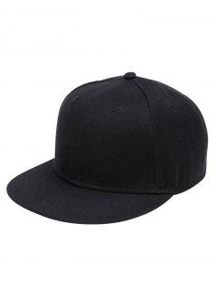 Line Embroidered Flat Baseball Cap - Black
