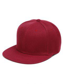 Line Embroidered Flat Baseball Cap - Wine Red