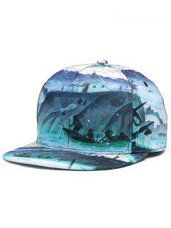 3D Marine Pattern Flat Brim Snapback Hat - Green