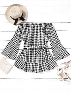 Belted Plaid Off Shoulder Mini Dress - Checked M