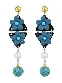 Triangle Flower Ball Drop Earrings - Blue