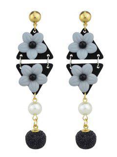 Triangle Flower Ball Drop Earrings - Black