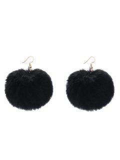 Furry Ball Shape Drop Earrings - Black