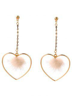 Hollow Out Heart Furry Ball Drop Earrings - Golden