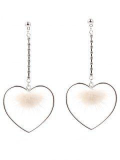Hollow Out Heart Furry Ball Drop Earrings - Silver