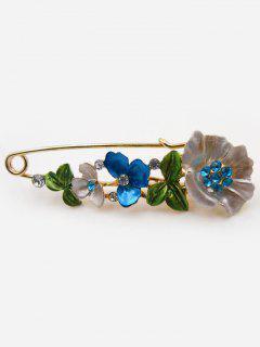 Flower Fake Diamond Brooch Pin - Blue