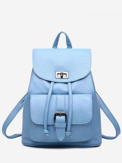 PU Leather Buckle Strap Backpack With Handle - Azure