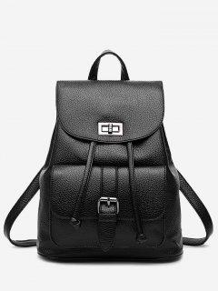 PU Leather Buckle Strap Backpack With Handle - Black