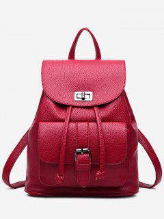 PU Leather Buckle Strap Backpack With Handle - Wine Red
