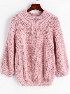 Pullover Raglan Sleeve Chunky Sweater - Pink