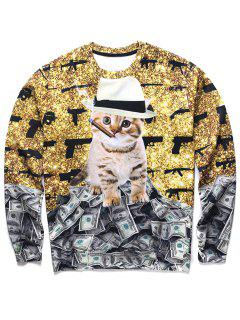 Kitten Print Crewneck Sweatshirt - 2xl