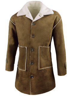 Turn Down Collar Faux Sheepskin Coat - Verde Del Ejército M