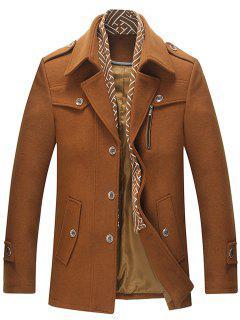 Manteau Echarpe Détachable à Simple Poitrine En Laine - Camel 3xl