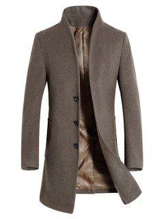 Manteau En Laine à Fente Derrière à Boutonnage Simple à Col Montant - Camel 3xl