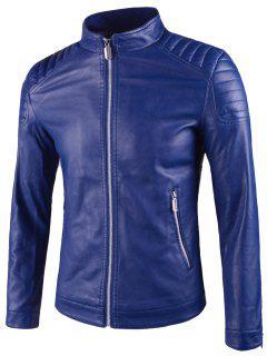 Veste En Cuir à épaulettes Rembourrées à Col Montant - Bleu L