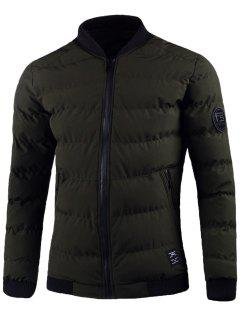 Zip Up Gepatchte Design Puffer Jacke - Bundeswehrgrün Xl